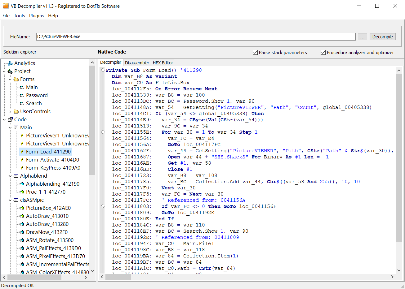 ... for programs (EXE, DLL or OCX) Visual Basic 5.0 , 6.0 or .NET: http://dotfixsoft.com/vb_decompiler.htm