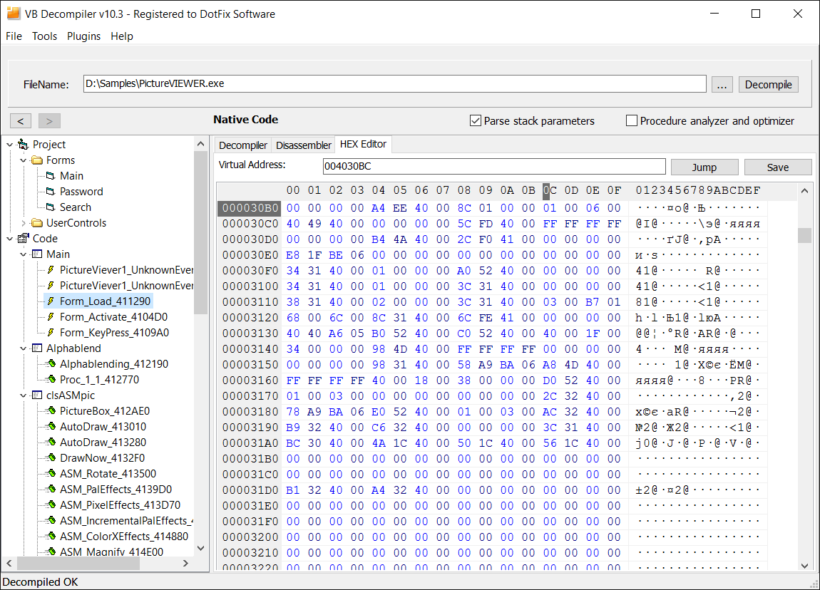 DotFix Software - VB Decompiler 103 - Decompiling calls from