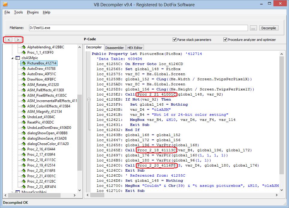 DotFix Software - VB Decompiler 94 - Decompiler, Disassembler, HEX