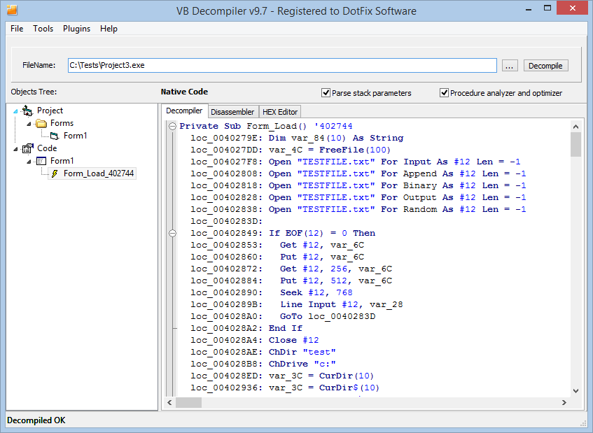 DotFix Software - VB Decompiler 97 - Native Code